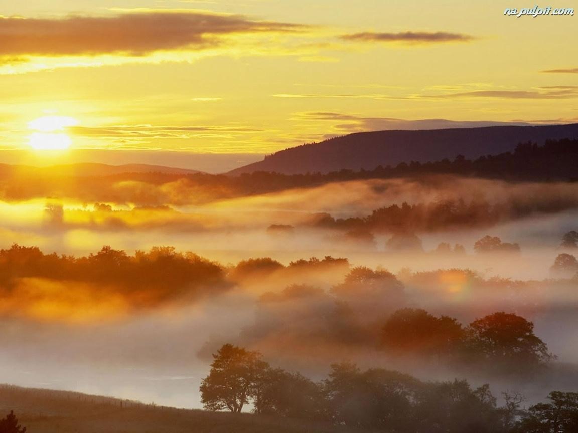 Mgła, Zachód, Słońca
